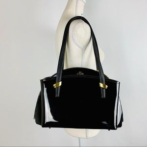 orYANY Handbag Medium Black Patent Leather 3 Zip